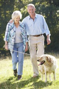 senior couple walking dog